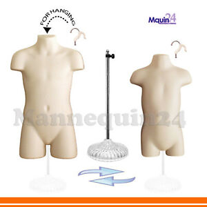 Kids Dress Forms Flesh Child Toddler Mannequin Set 2 Hangers