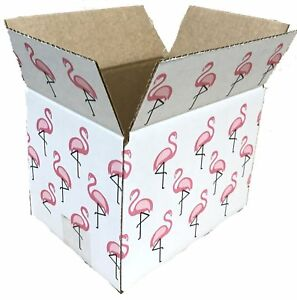 8x6x6 Flamingo Designer Boxes Corrugated Cardboard Box Shipping Cartons Mailers