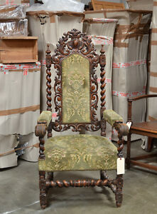 111041 Antique Carved French Renaissance Hunt Arm Chair