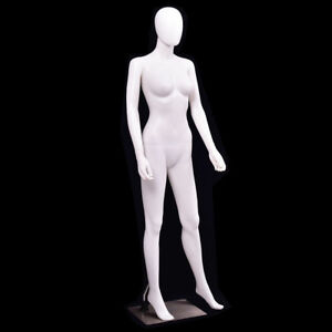 5 8 Ft Female Mannequin Egghead No Face Full Size Body Display Base Metal Stand