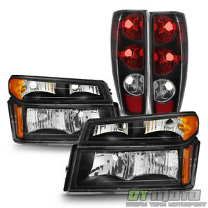 Black 2004 2012 Chevy Colorado Gmc Canyon Replacement Headlights tail Lights Set