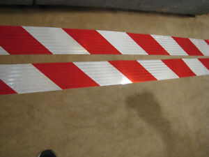 6 X 50 Roll Red White Diagonal Reflective Conspicuity Tape
