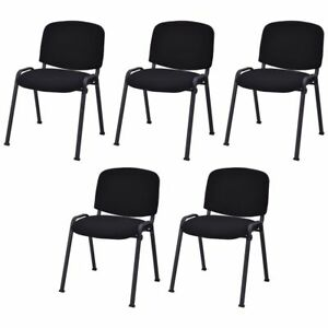 Set Of 5 Black Conference Chairs Office Waiting Meeting Room Reception Wedding