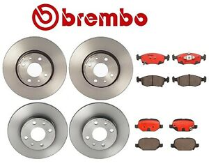 For Fiat 500 2012 2016 Front And Rear Disc Brake Rotors Ceramic Pads Kit Brembo