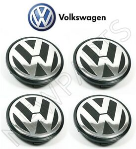 For Vw Set Of 4 Alloy Silver Black Wheel Center Caps Genuine 3b7 601 171 xrw
