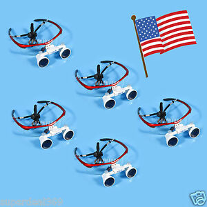 5x Usa Dental Optical Surgica Binocular 3 5x Loupes Glasses Magnifier Red Color