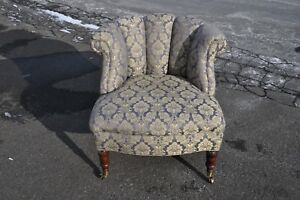 Kravet Occasional Chair With Brass Castors And Pillows