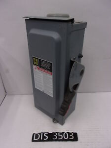 Square D 240 Volt 30 Amp Fused Disconnect Safety Switch dis3503