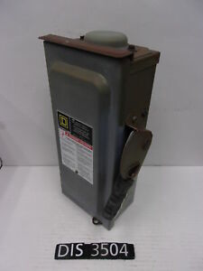 Square D 240 Volt 30 Amp Fused Disconnect Safety Switch dis3504