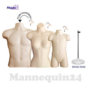 Male Female Child Torso Set 3 Flesh Mannequins Forms 1 Stand 3 Hangers