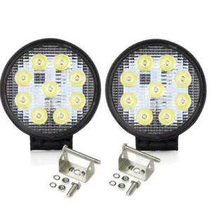 27w Spot Round Led Work Light Offroad Fog Driving Drl Fit Suv Atv Truck 4wd Pair