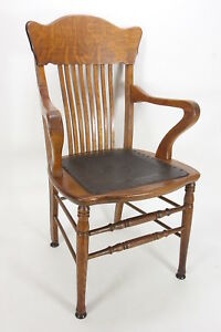 Antique Solid Oak Banker S Arm Chair Tooled Embossed Leather Seat Bakelite Feet