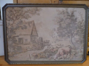Antique Framed French Tapestry Country Scene Stone House Water Wheel Cows