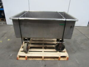 110 Gallon 46 lx35 wx16 d Heavy Gauge Stainless Steel Tub Tote Tank On Wheels