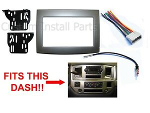 Silver 06 07 08 09 10 Dodge Ram Double Din Dash Kit Install Radio Stereo Panel