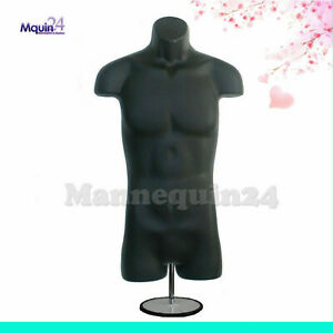 Male Torso Mannequin Black With Table Top Stand Hanging Hook Men Dress Form