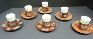 Vintage Rosewood Silver Mounted Cups Saucers