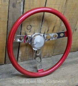 Vtg Style Red Metalflake Steering Wheel Rat Hot Rod Custom Bomb Lowrider Holes