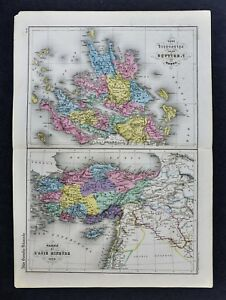 1864 Delamarche Map Greece Asia Minor Athens Sparta Corinth Byzantium