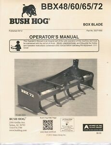 Bush Hog Box Blade Bbx 48 60 65 72 Operators Manual