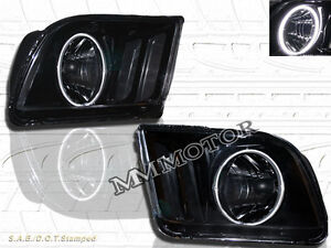 Ford Mustang 05 09 Jdm Black Headlights With Super White Ccfl Halo