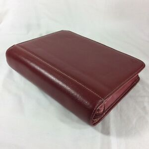 Red Simulated Leather Classic Franklin Covey Planner Binder Zip Organizer Padded