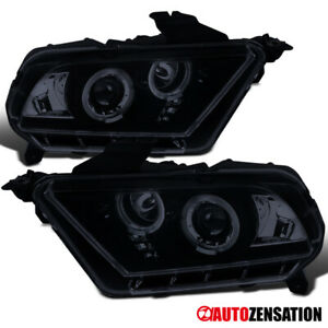 For 2010 2014 Ford Mustang Glossy Black Smoke Led Halo Projector Headlights Pair