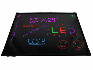 32 X 24 Flashing Colorful Erasable Neon Led Message Menu Writing Sign Board
