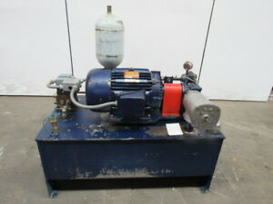 75 Gal Hydraulic Power Unit 15hp 230 460v 3ph W accumulator Tested Vickers Pump