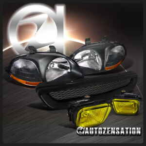 Fit 96 98 Honda Civic Jdm Crystal Black Headlights Yellow Fog Lamps Grille