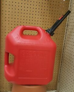 2 Midwest Can Company 5 Gallon Red Poly Gas Can Model 5600 Spill Proof Spout