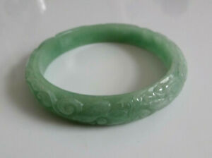 Important Chinese Estate Auction Jade Ornate Carved Bangle Bracelet 58mm