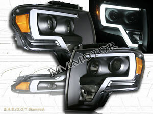 09 14 Ford F150 Black Housing Plank Style Projector Headlights W Led Strip Bar