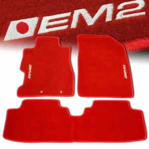 01 05 Honda Civic Em2 Custom Fit Floor Mats Non Skid Carpet Set Kit 5 Pc Red