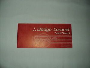 67 Dodge Coronet 426 Hemi Owners Manual Original