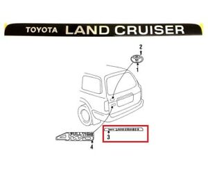 Back Door Hatch Ornament Emblem Genuine Fj80 Fzj80 For Toyota Land Cruiser 91 97