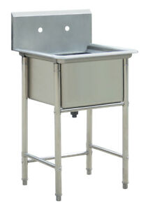 New Commercial Stainless Steel Kitchen Utility Sink 23 5 Wide For Restaurant