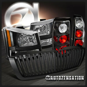 For 2003 2005 Chevy Silverado Black Headlights Tail Lamp Vertical Hood Grille