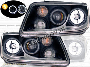 99 05 Vw Jetta Gl gli gls glx tdi Black Halo Projector Headlights W fog