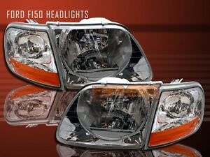 97 02 03 Ford F150 1997 2002 Ford Expedition Headlights Clear Corner Lights