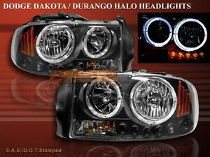 1997 1998 1999 2000 2001 2004 Dodge Dakota Durango Black Headlights Led 2 Halo