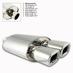 3 Rem Style Dtm Dual Square Tip Stainless 2 5 Inlet Weld on Muffler Exhaust