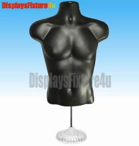 2 pack Male Mannequin Form Hooks stands Body Displays Apparel T shirt Black