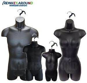 Set 4 Male Female Child Toddler Mannequin Form Torso Body Display Shirt Black