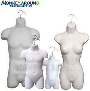 Set 4 Male Female Child Toddler Mannequin Form Torso Body Display Shirt White