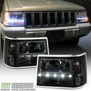 Smoke 1993 1998 Jeep Grand Cherokee Led Headlights W Bumper Lamps Corner Lights