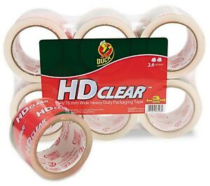 6 Rolls Duck Heavy duty Packaging Tape 6 Pack Shipping Tape 3 X 55 Yd Clear