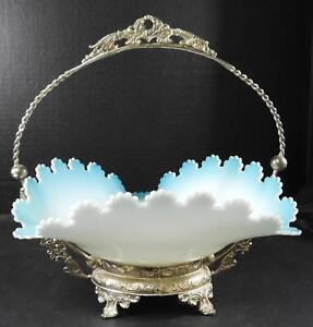 Vintage Decorative Silver Plated Bride S Basket With Art Glass Bowl