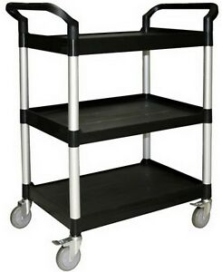 New Heavy Duty Rolling Utility Cart 3 Tier Shelving Bus Push 4 Ca
