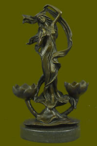 Close Out Semi Nude Double Candelabra Candle Holder Bronze Sculpture Statue Art